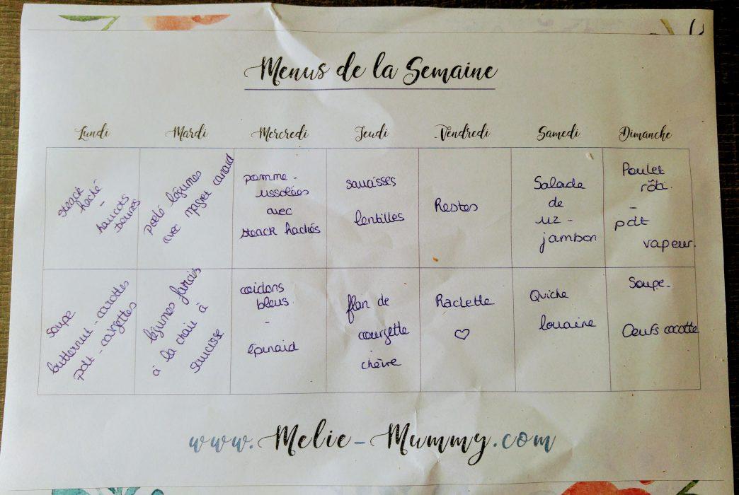 menus semaine
